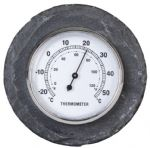 Garden Outdoor Thermometer Ornament Round Slate 10cm